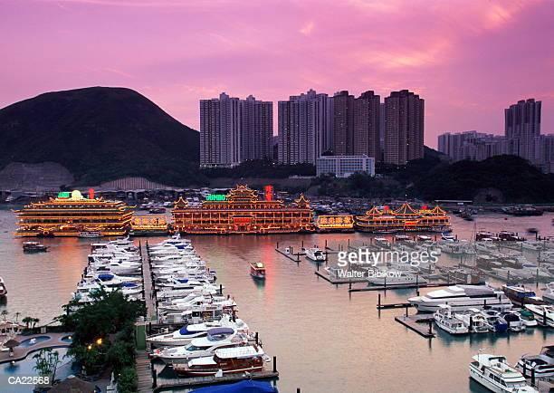 Hong Kong, floating restaurants on Aberdeen Harbour