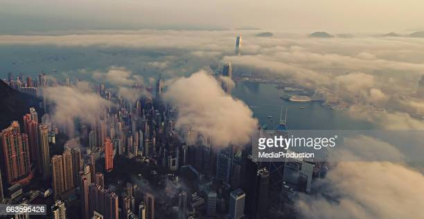 Hong Kong from air at sun rise