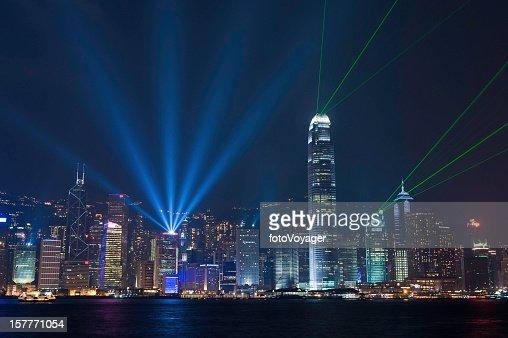 Hong Kong harbor laser light show China