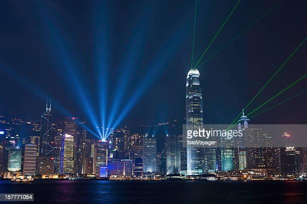 香港ハーバーのレーザー光のショー、中国