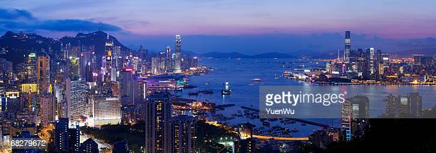 Hong Kong Harbor super panorama night scene