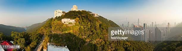 Hong Kong houses and highrises Victoria Peak landmark panorama China