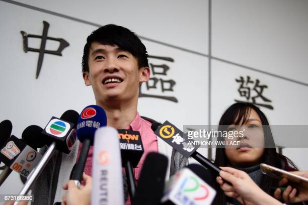 Hong Kong independence activists Yau Waiching and Baggio Leung speak to the press after their release from Central police station in Hong Kong on...