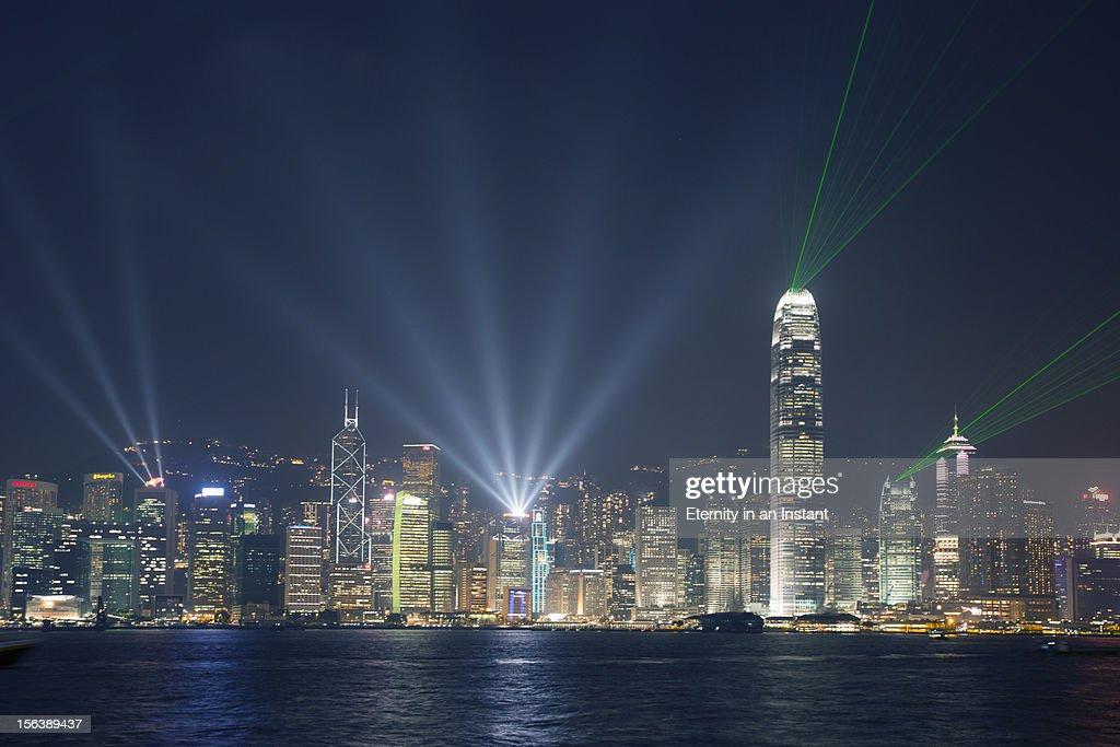 Hong Kong Island  lightshow at night : Stock Photo