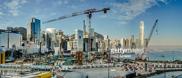 Hong Kong island with signs of construction