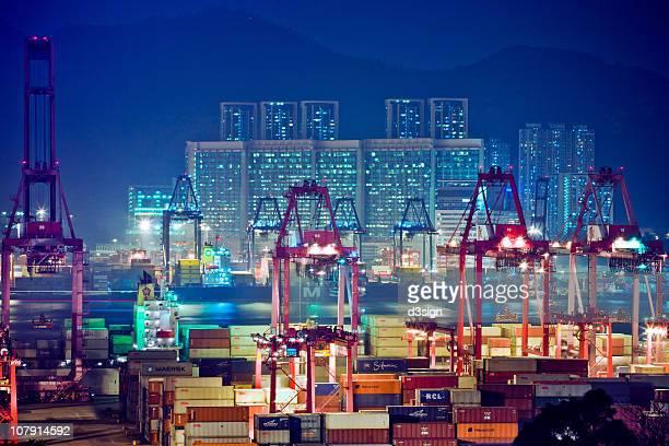 Hong Kong Kwai Chung Container Terminal at night