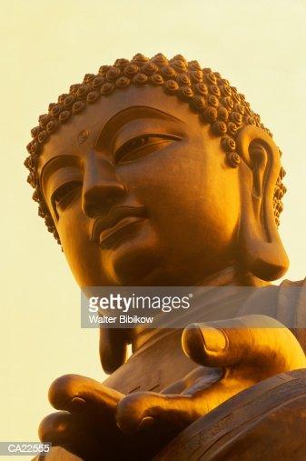 Hong Kong, Lantau Island, Po Lin Monastery, gold buddha statue : Stock Photo