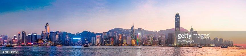 Hong Kong neon sunset iconic harbour skyscrapers illuminated panorama China