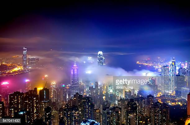 Hong Kong Panoramic Skyline at Night