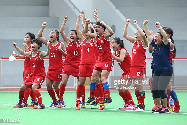 Hong Kong players celebrate during the penalty shootout against Kazakhstan during round 1 of the 2016 Hockey World League at Sengkang Hockey Stadium...