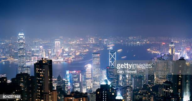 Hong Kong skyline and Harbour at night