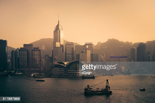 Hong Kong skyline and Victoria Harbour at dusk
