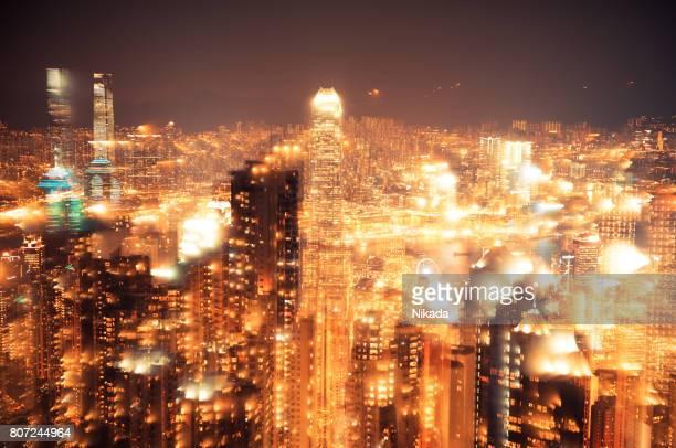 Hong Kong skyline at night, multiple exposure