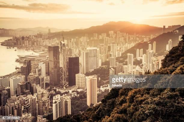Hong Kong skyline at sunrise