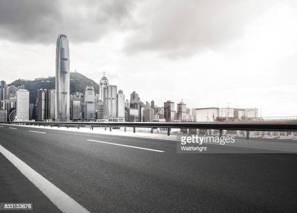 Hong Kong skyline with city road