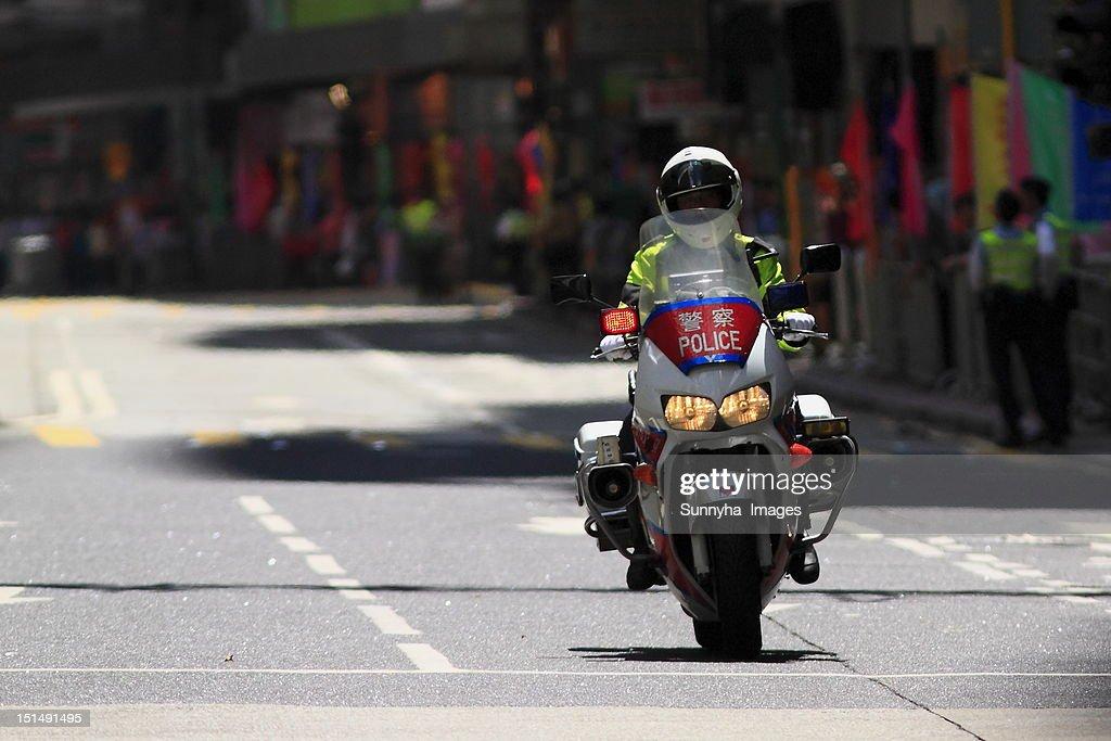 Hong Kong traffic police : Stock Photo