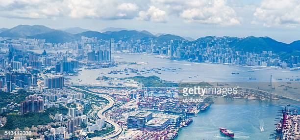 Hong Kong Victoria Harbour from Air