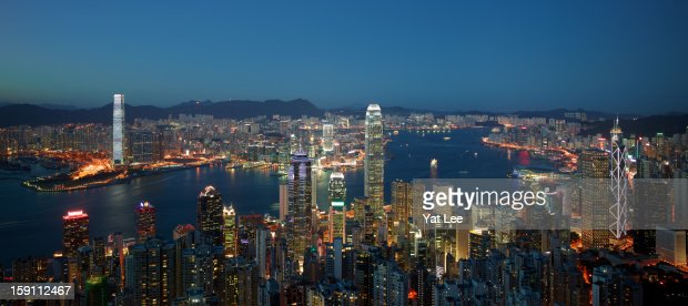 Hong Kong Victoria Harbour Magic Hour : Stock Photo