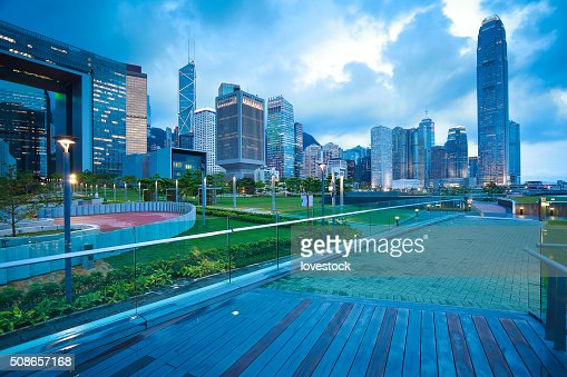 Hong Kong Victoria Harbour of urban skyline dusk : Stock Photo