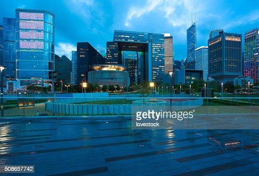 Hong Kong Victoria Harbour of urban skyline dusk : Stock Photo