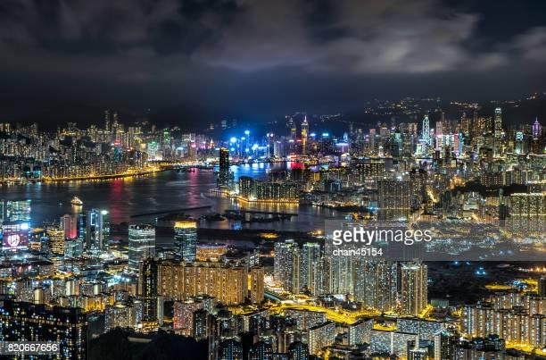 Hong kong view at the peak of mountain during Hong kong shopping festival.