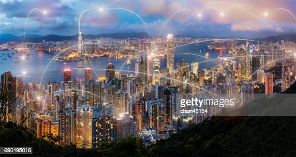 Hong kong view at the peak of mountain with network of business connection, Business technology concept.
