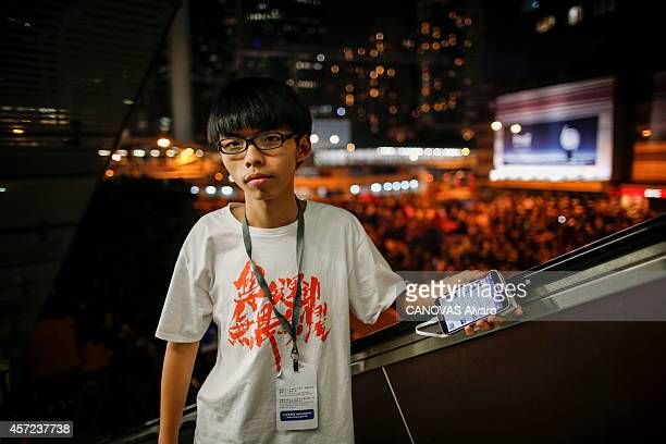 Hong Kong youth protesting against the Chinese government Joshua Wong the leader of the student protest is photographed for Paris Match in the...