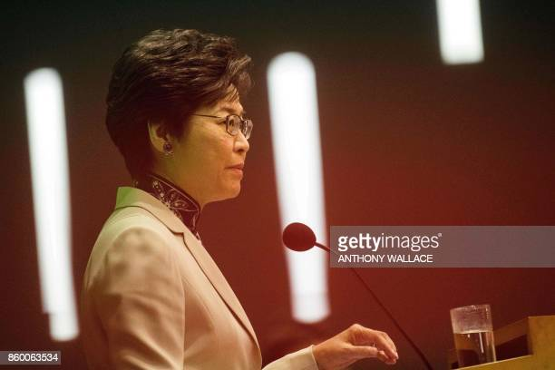 Hong Kong's Chief Executive Carrie Lam answers questions during a press conference after her first policy address at the Legislative Council in Hong...