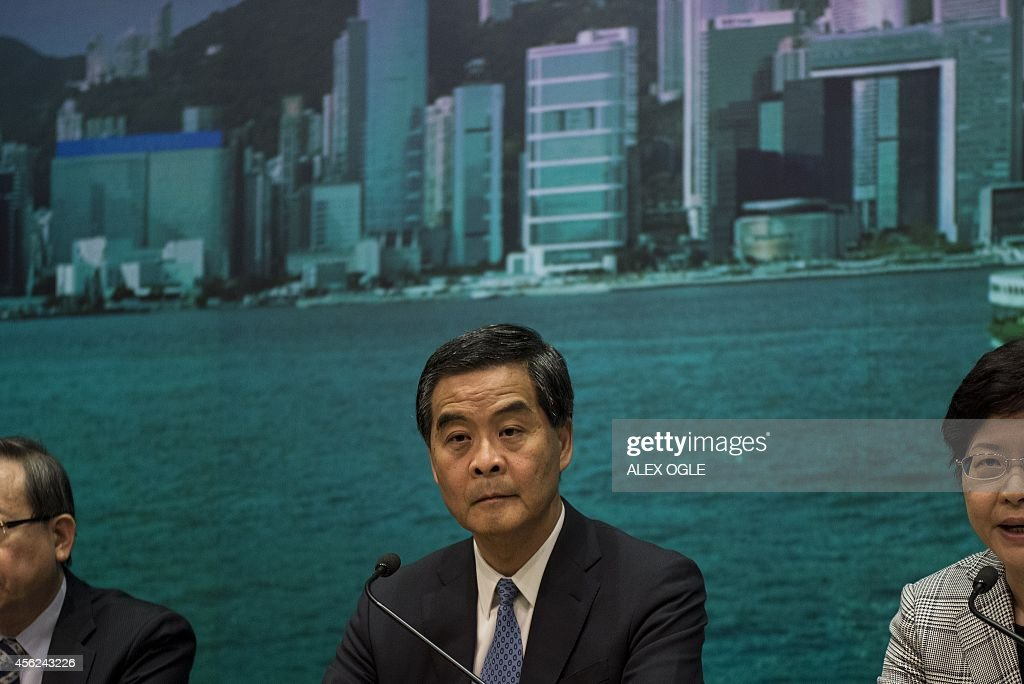 Hong Kong's Chief Executive Leung Chunying attends a press conference in Hong Kong on September 28 2014 Activists massed outside Hong Kong's...