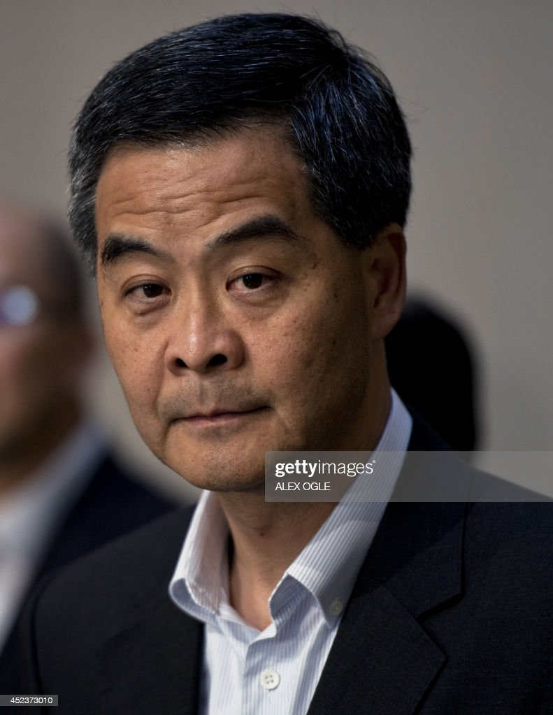 Hong Kong's Chief Executive Leung Chunying listens to a question at a press conference on political reform in the southern Chinese city at the...