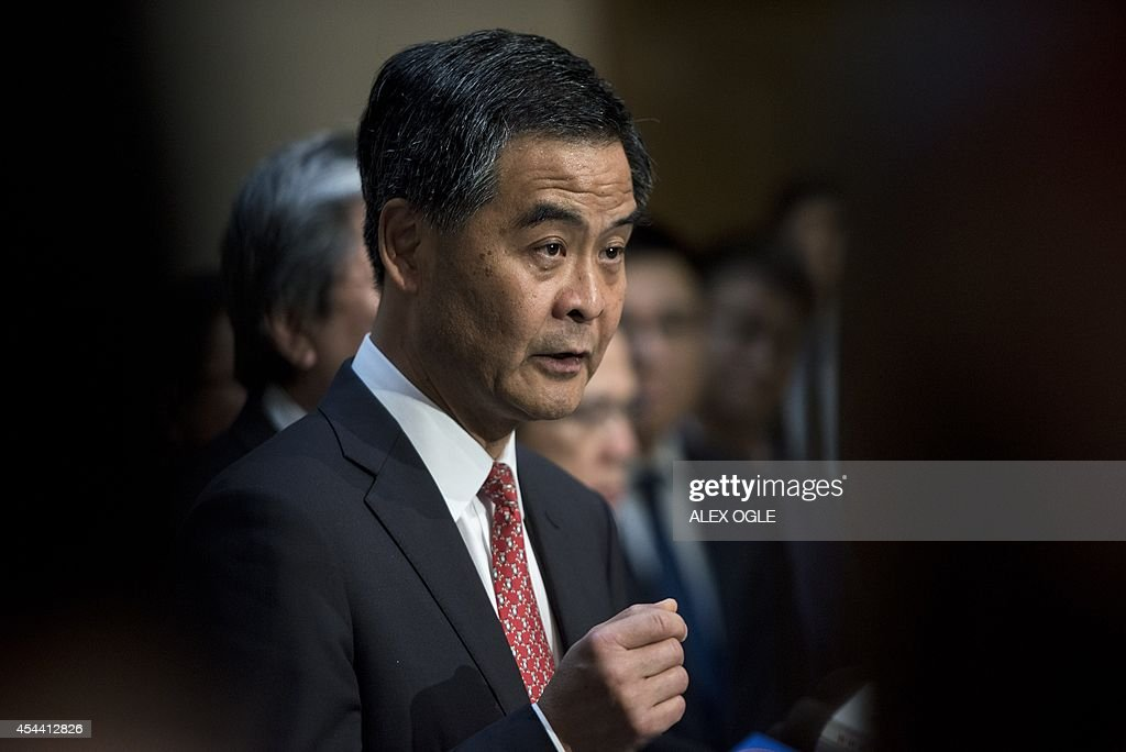 Hong Kong's Chief Executive Leung Chunying speaks at a press conference on political reform at the government headquarters in Hong Kong on August 31...