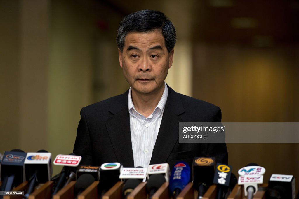 Hong Kong's Chief Executive Leung Chunying speaks at a press conference on political reform in the southern Chinese city at the government...
