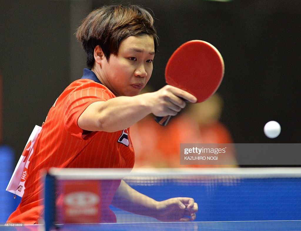 Hong Kong's Ng Wing Nam returns a shot against Croatia's Petra Petek during their match in the women's team championship division group D at the 2014 World Team Table Tennis Championships in Tokyo on May 1, 2014. AFP PHOTO / KAZUHIRO NOGI