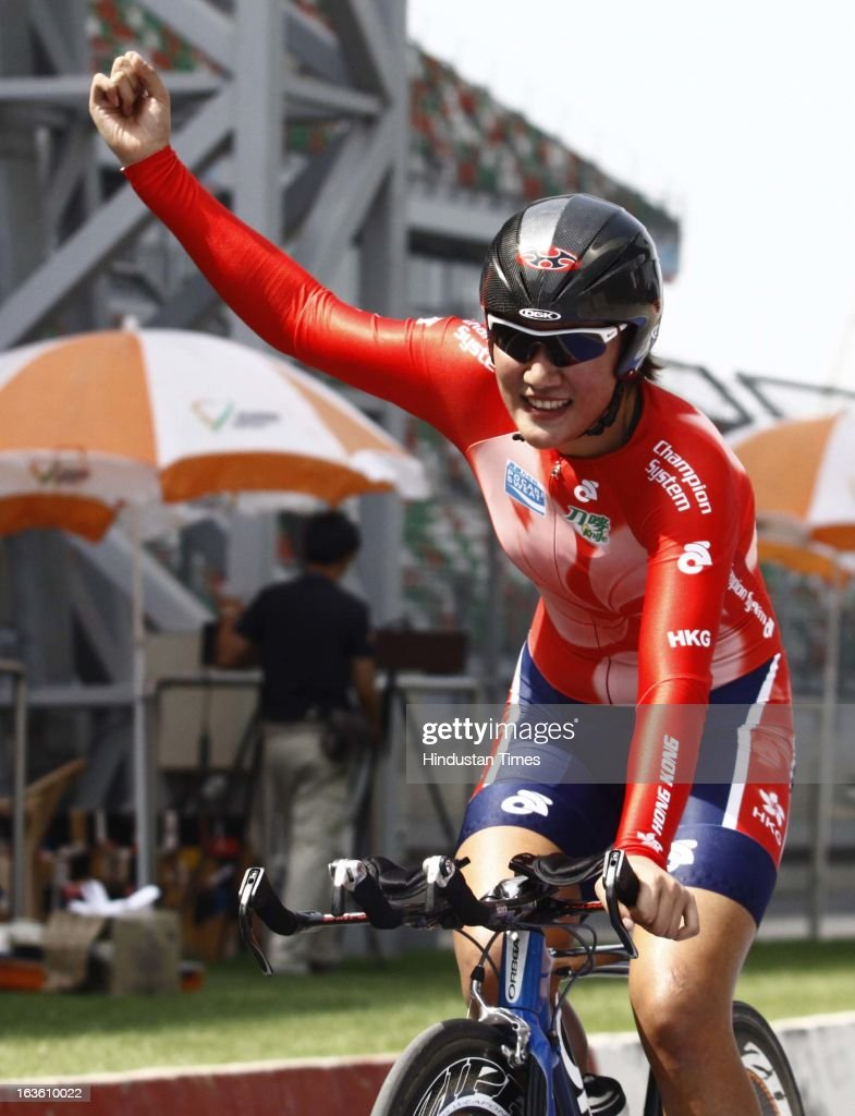 Hong Kong's Pang Yao wins the Gold Medal in the Individual Time Trial- Women Junior Final during the Asian Cycling Championship Road Race at the Buddh International Circuit on March 13, 2013 at Greater Noida, India.