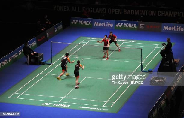 Hong Kong's Reginald Lee Chun Hei and Chau Hoi Wah take on Korea's Ko Sung Hyun an Kim Ha Na during day two of the 2015 Yonex All England Badminton...