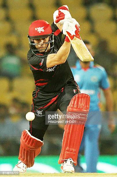 Hong Kong's Ryan Campbell plays a shot during the World T20 cricket tournament match between Afghanistan and Hong Kong at The Vidarbha Cricket...