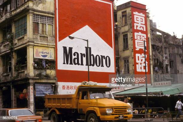 Hong Long Street scene and billboard on Wanchai Road On May 1985