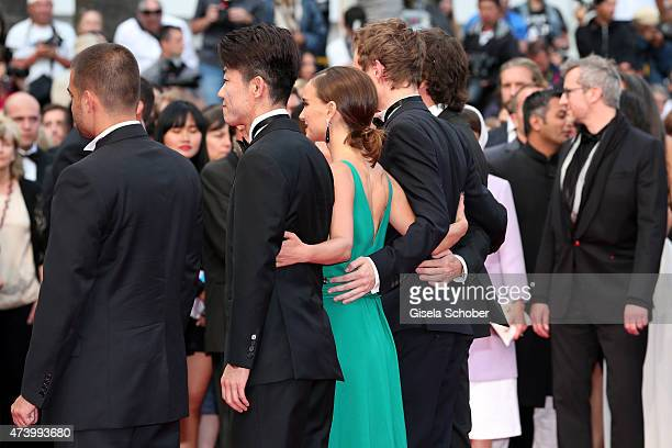 Hong Won Chan Natalie Portman and Laszlo Nemes attend the Premiere of 'Sicario' during the 68th annual Cannes Film Festival on May 19 2015 in Cannes...