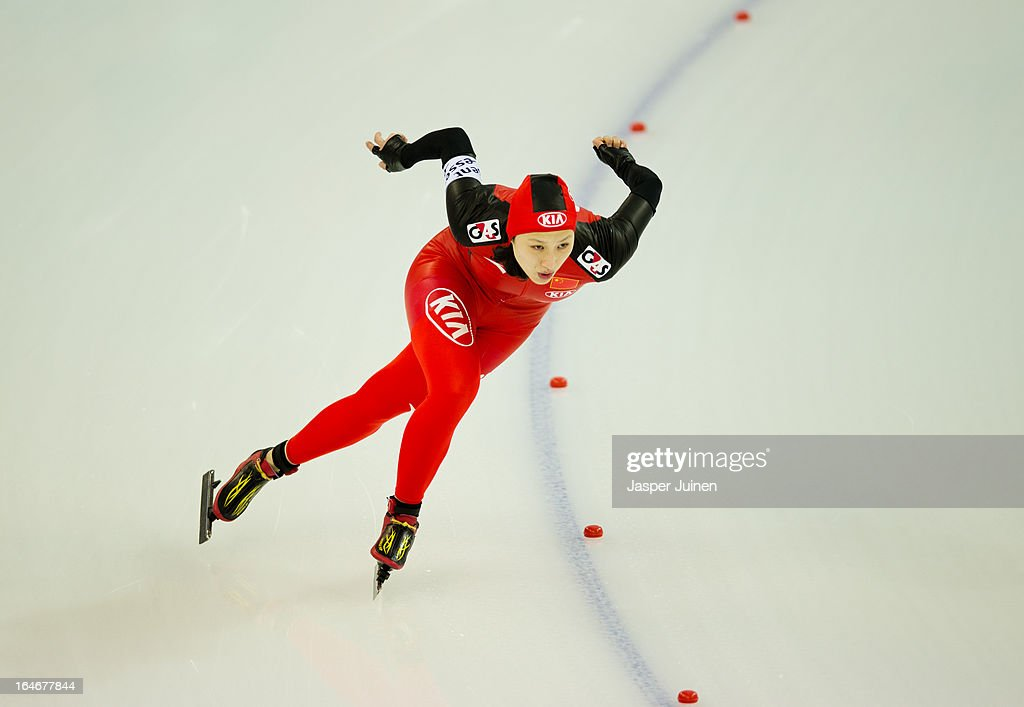 Hong Zhang of China competes during the 500m race on day four of the Essent ISU World Single Distances Speed Skating Championships at the Adler Arena Skating Center on March 24, 2013 in Sochi, Russia.