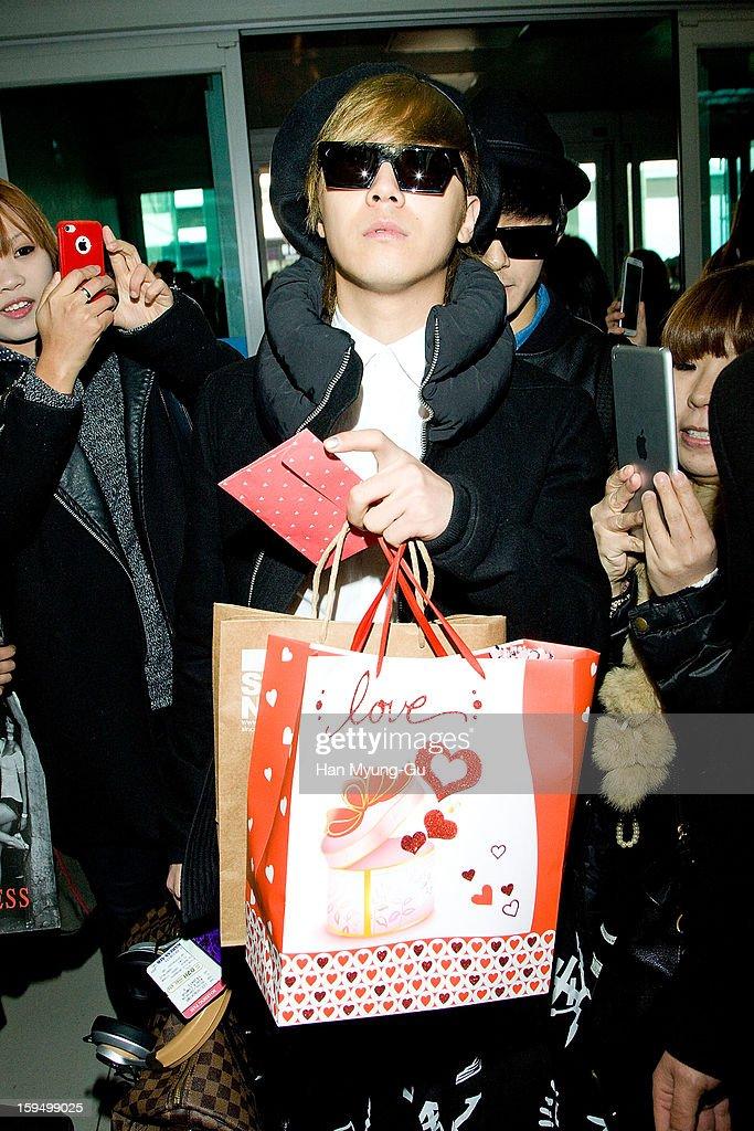 Honggi of South Korean boy band FTisland is seen at Incheon International Airport on January 14 2013 in Incheon South Korea