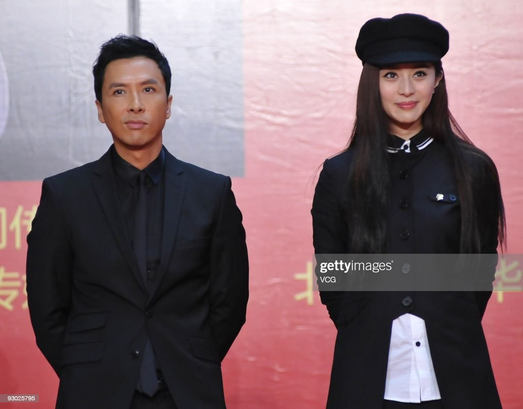 Hongkong actor Donnie Yen and Chinese actress Fan Bingbing attend a press conference to promote the movie 'Bodyguards and assassins' on November 12...