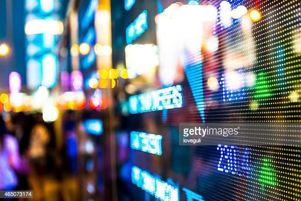 Hongkong stock exchange market display screen board on the street.