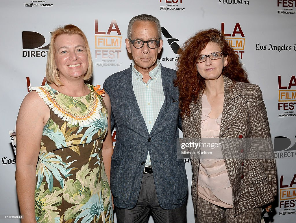Honolulu Film Office commissioner Walea Constantinau, LAFF artistic director David Ansen, and producer Madeleine Molyneaux, winner of the Honolulu Film Office Award for Best Documentary Short Film for 'Stone', attend the Awards Brunch during the 2013 Los Angeles Film Festival at Chaya Downtown on June 23, 2013 in Los Angeles, California. The Honolulu Film Office is celebrating 100 years of film in Hawaii.