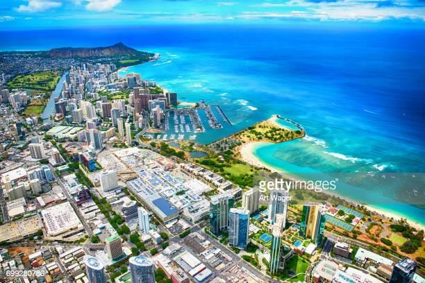Honolulu Hawaii Wide Angle Aerial
