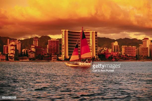 Honolulu Skyline and Sailboat