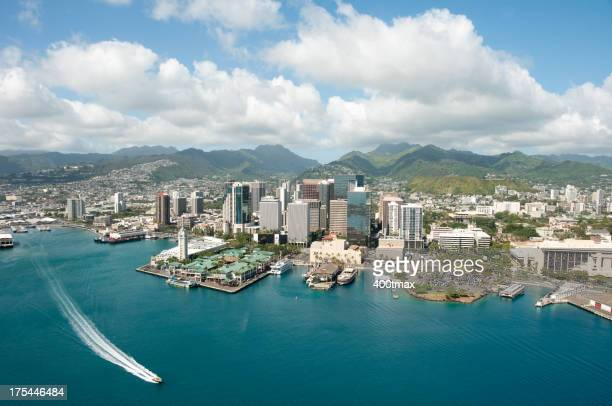 Honolulu skyline shot from a Helicopter