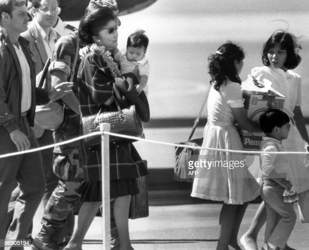 TO GO WITH 'PHILIPPINESMARCOSANNIVERSARY' This file photo dated 26 February 1986 shows Imelda Marcos wife of ousted Philippines president Ferdinand...