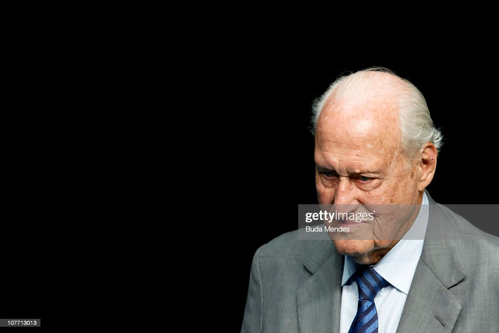 FIFA hononary President <a gi-track='captionPersonalityLinkClicked' href=/galleries/search?phrase=Joao+Havelange&family=editorial&specificpeople=552184 ng-click='$event.stopPropagation()'>Joao Havelange</a> looks on during the ceremony of Brazil's Olympics award Premio Brasil Olimpico at the MAM Theater on December 20, 2010 in Rio de Janeiro, Brazil.