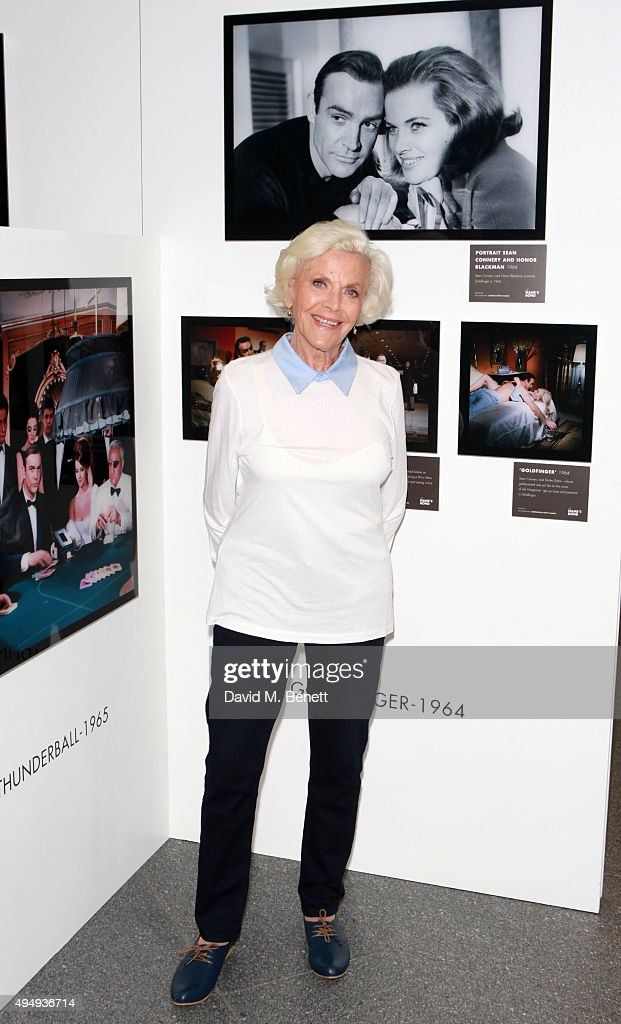 Honor Blackman visits 'The Name's Bond' exhibition at Everyman Canary Wharf raising funds for The Stroke Association on October 30, 2015 in London, England.
