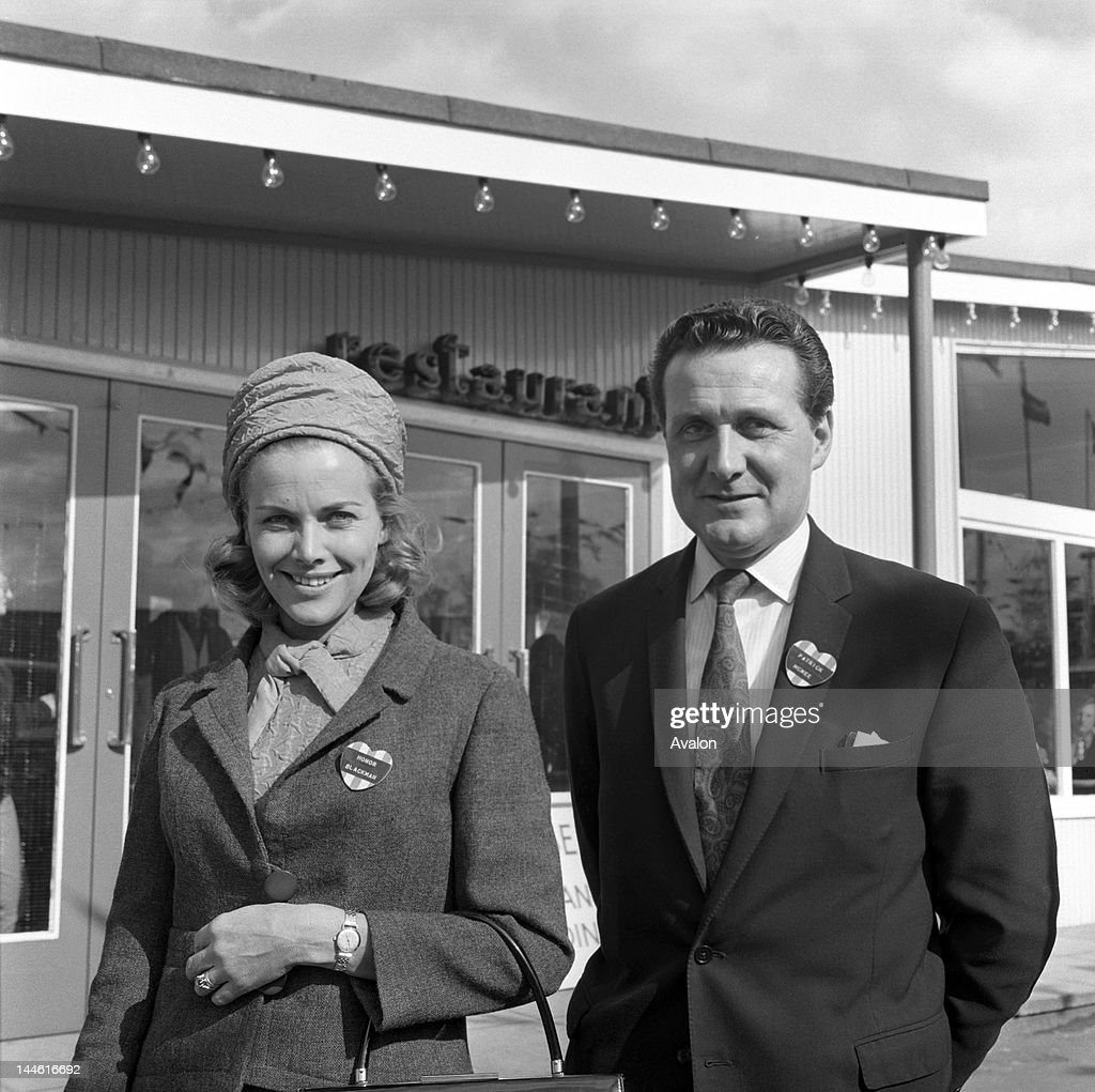 Honor Blackman (actress) with Patrick Macnee (actor) in May 1963;